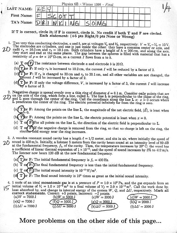 Physics 6 - Final Exam